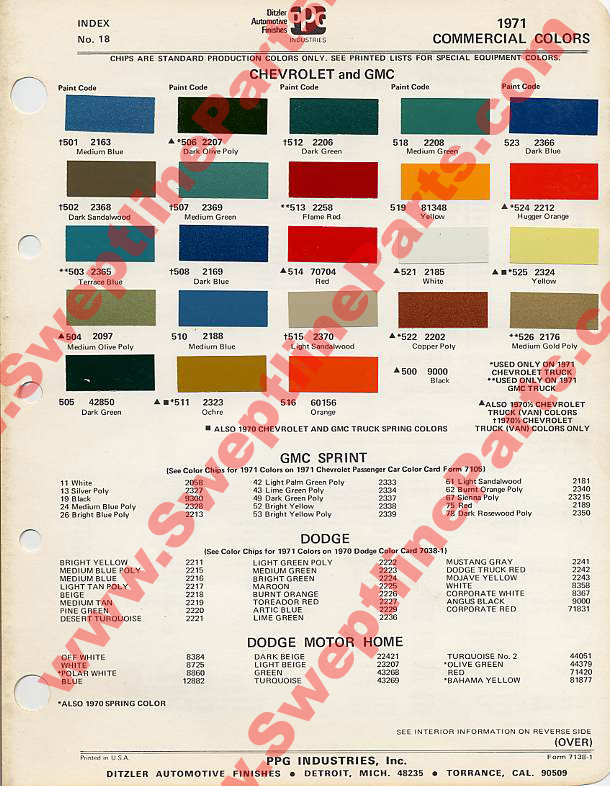 Sweptline Parts Parts - 1969 camaro paint codes colors